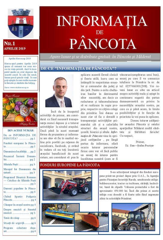 Informația de Pâncota - ed. I - aprilie 2019